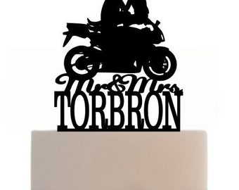 Custom Wedding Cake Topper Mr and Mrs with your last name, a closed tire Motorcycle silhouette, choice of color and a FREE base for display