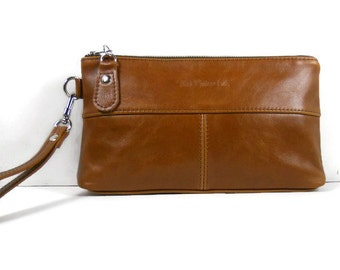 Leather Clutch Bag, Crossbody Clutch, Leather Handbag, Clutch Purse, Leather Wristlet, Cognac Leather Purse, Clutch Wallet, Made in USA