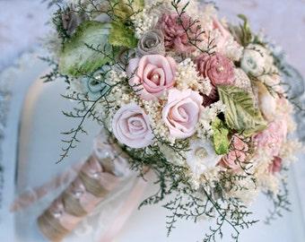 Pink Wedding Bouquet, Dusty Pink Bouquet, Pink Brides Bouquet, Pink Sola Roses, Pink, Sola Bouquet, Sola Wood, Lace, Burlap, Wedding Bouquet