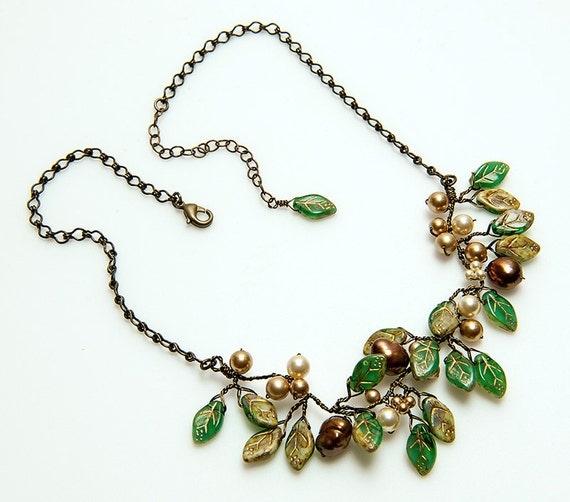 Brown Green Bib Necklace set Rustic Wedding Necklace Winter