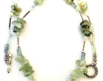 Prehnite necklace, pale green prehnite necklace, prehnite nugget necklace, raw prehnite necklace, gemstone jewelry, long length necklace