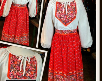 Vintage Red Orange White Print Blouse Top Cotton Skirt Set FREE SHIPPING