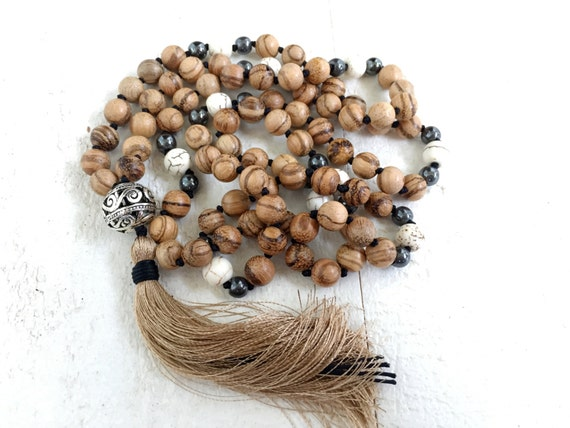 Natural Wood Mala Beads, Tassel Mala Necklace, Wood 108 Bead Mala, Silk Tassel Mala, Knotted Mala Beads, Bohemian Necklace