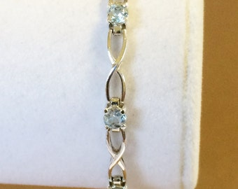 Sterling Silver And Zircon Tennis Bracelet 7 1/4""