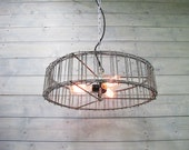 """Modern Industrial Chandelier 16"""" or 20"""" Diameter Galvanized Grey Steel Cage with Pull Chain Switch - Hanging or Flush Mount"""