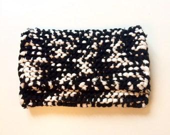 Black & White handmade cotton clutch