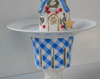 The birds will flock to this beautiful one of a kind Birdfeeder Birdhouse/ tea light holder handmade repurposed  vintage & glass garden wear