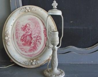 Antique Shabby Paint Cast Iron Boudoir Lamp Base