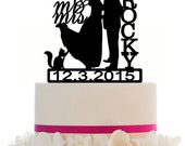 Custom Wedding Cake Topper , Couple Silhouette and any Dog of your choice or Cat