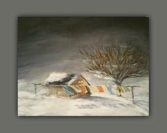 "Oil Painting - ""WINTER STORM"" - OriginalOilPaintingforSale, #EtsyGifts, #EtsySuccess, winter, tree, snow, house, laundry, light"