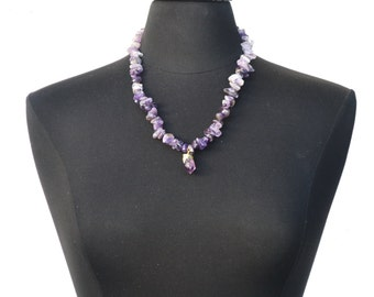 Raw Crystal Jewelry, Beaded Amethyst Necklace, Gold Dipped Purple Stone Pendant