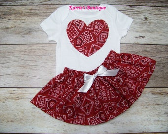 Cowgirl Outfit / Bandana Heart / Onesie or Shirt + Skirt / Red + White / Coming Home / Western / Infant / Baby / Girl / Toddler / Boutique