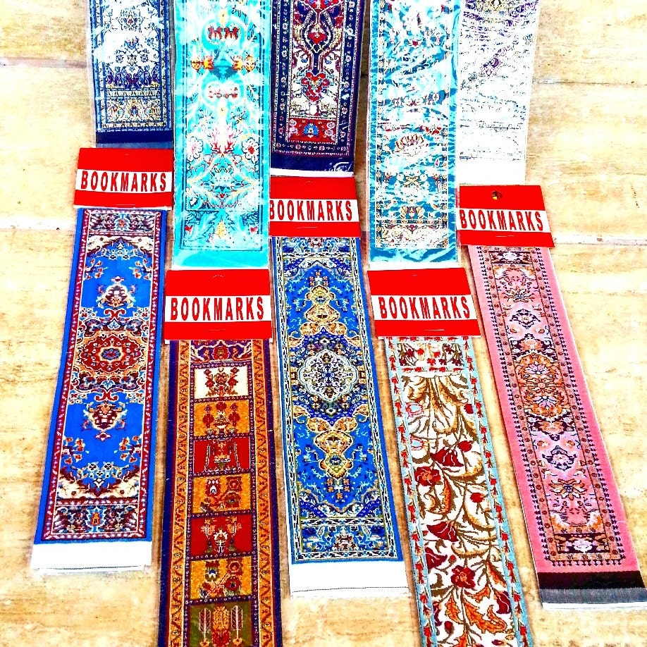 10 Pcs. Turkish Kilim Carpet Rug Design Woven Bookmarks Set Of