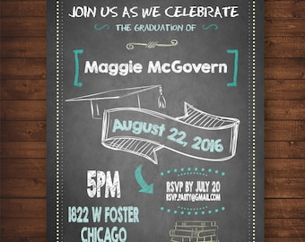 Graduation Party Invitation on Chalkboard — For Middle School, High School or College Graduates —DIY, print at home! Fun and Quirky!