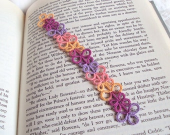 Tatted Lace Bookmark - Multicoloured Lilac, Raspberry Purple, Peach, Orange / Yellow - Colourful Bookmark - Eva