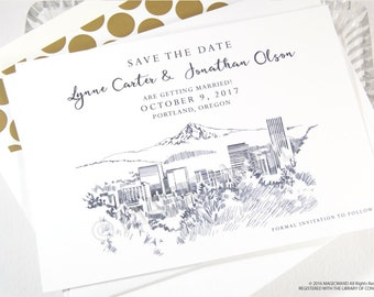 Portland Skyline Save the Date Cards (set of 25 cards)