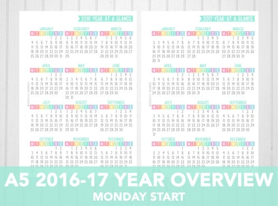A5 2016 & 2017 Year At A Glance Printable | Monday Start | Pastel ...
