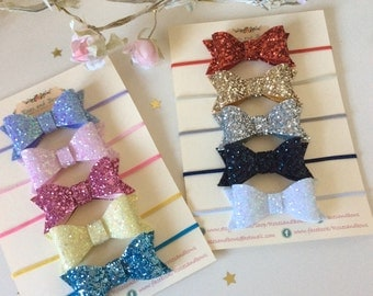 Large Chunky Glitter Bow Stretch Baby Girl Thin Headband in Sizes Newborn-Adult. Choice of 31 colours. Pink, red, white, gold, blue, silver