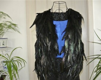 Black feather cape feather jacket feather shawl feather top black jacket