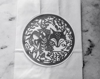 White and Gray Fox Kraft Paper Bag