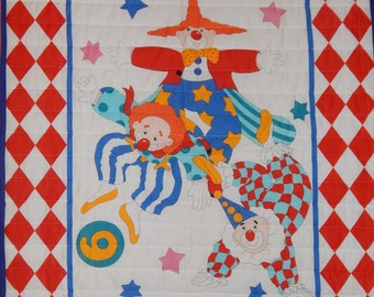 Baby Quilt/Bring In The Clowns/Baby Quilt Panel for Boy or Girl/Clown Crib Bedding/Circus Baby Quilt