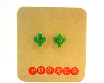 Cactus Stud Earrings, Cactus Jewelry, Plant Earrings, Plant Jewelry, Cactus Accessories, Desert. Catus Gift, Southwest, Plant Gift