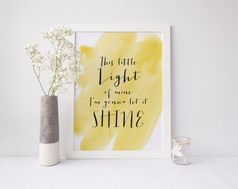 Hymn Art INSTANT DOWNLOAD 8x10 Printable Watercolor Art Print, This Little Light of Mine Scripture, Home Decor Wall Gallery Print