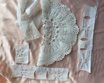 collection antique embroidery, collars,laces 1900 to 1940 Pre used condition Tape lace ,crochet ,lace Tulle ,Hand embroidery For wabi-Sabi