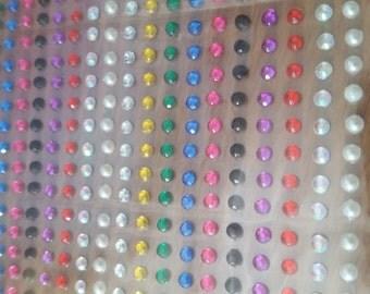 CraftbuddyUS 1500 x 3mm Self Adhesive Rhinestones Individual Gems Stick On Multi Colors