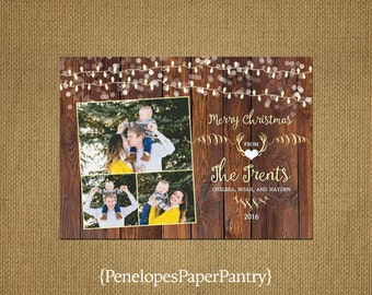 Rustic Christmas Family Photo Card,Antlers,Fairy Lights,Heart, Barn Wood,Up to 4 Photos,Opt Back Print,Personalize,Printed Cards,Envelopes