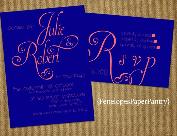 Blue And Coral Wedding Invitations: Royal Blue And Coral Wedding By PenelopesPaperPantry On Etsy