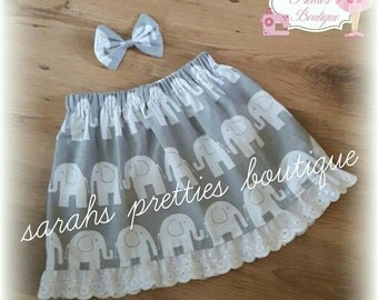 Grey elephant girls skirt Age 4-5 5-6