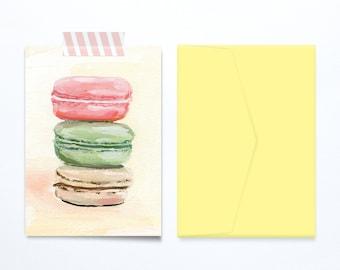 Macarons birthday card illustration, blank, sweet and feminine