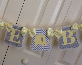 Elephant baby shower banner/Grey and light yellow elephant baby shower banner/Neutral baby shower banner