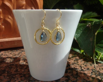 Gold plated earrings, and 585 goldfilled crystal chandelier in sparkly-blue
