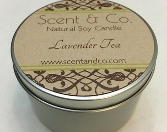 Lavender Tea || Soy Candle || Wood Wick || 8oz tin
