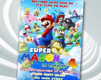 DIGITAL FILE Super Mario Invitation - Super Mario Birthday Party Invitation - Super Mario Printables - Super Mario Birthday