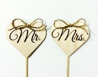 rustic wedding Cake topper - mr. & mrs. wood heart topper