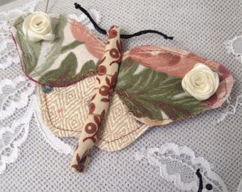 Textile butterfly brooch pink and cream. nature, fabric, insect, wearable art.