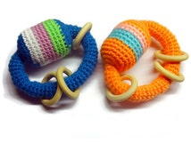 Crochet baby rattle / Cotton yarn /Developing toy / Sensory  / Wooden teething ring / Wooden beads / Ready to ship