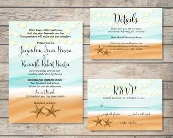 Printable Beach Wedding Invitation Suite, Starfish Beach Wedding Invitation Set, String of Lights  Ocean, Sand Starfish Wedding Invite Set