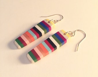 Striped polymer clay earrings on sterling silver