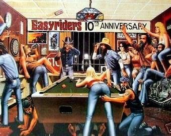 David Mann Easyriders 10th Anniversary Motorcycles Rare Vintage Poster