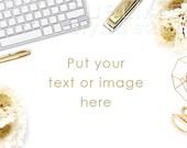 Styled Stock Photography / Digital Background / Styled Desktop / Computer Mockup / Styled Background / Stock Image / Gold / StockStyle-715