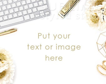 Styled Stock Photography / Digital Background / Styled Desktop / Computer Mockup / Styled Background / Stock Image / Gold / StockStyle-715