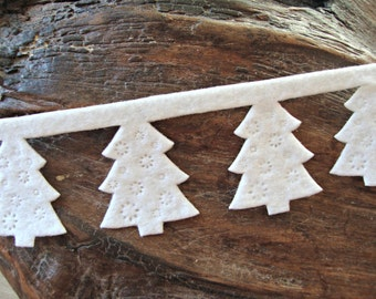 White Felt Christmas Tree Cut-Out Garland Ribbon Trim