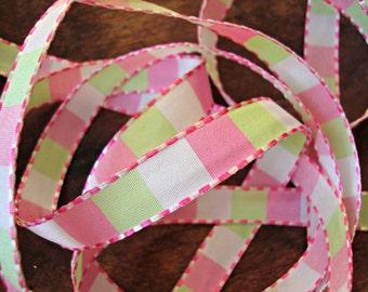 2 Yards - Pink and Spring Green Checked Ribbon
