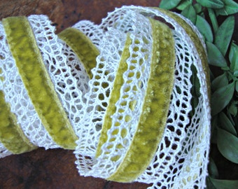 Sweet Pea Green Crochet and Velvet Ribbon