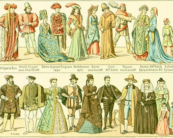 1897 Costume, Large Size, Antique Fashion, Historical Larousse print, 115 Years Old Decor, Fashion Wall  Art