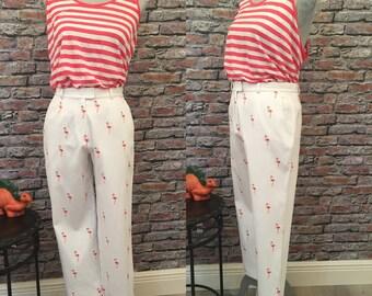 Vintage Nicole Miller White Pique Flamingo Pants   Size 6
